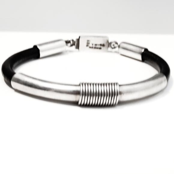 Vintage Jewelry - Vintage Taxco Sterling Silver & Leather Bracelet